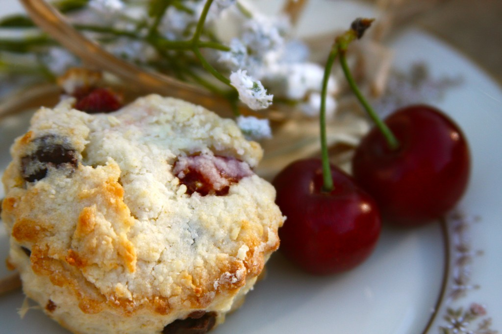 Rustic Chocolate Cherry Almond Scones
