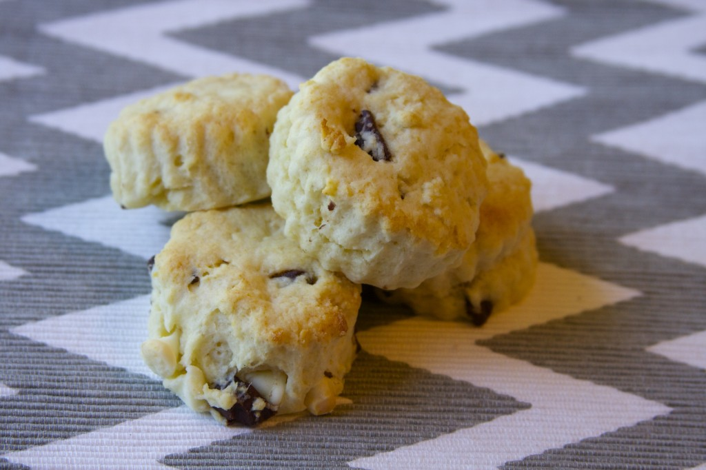 black and white chocolate chip scones